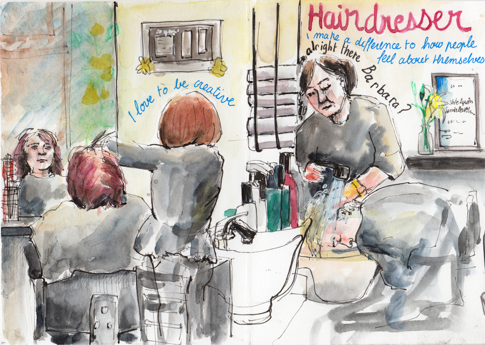 Hairdresser reportage illustration by Sophie Peanut