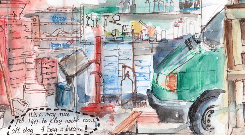 A Day At The Garage – Watercolour Pencil Drawings