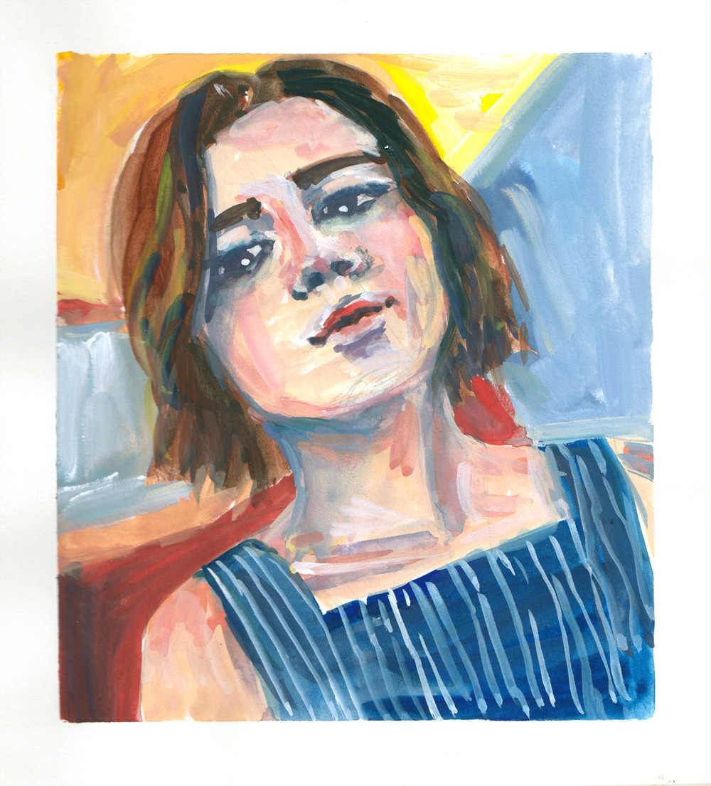 Girl In Stripy Blue Dress - Gouache on Paper by Sophie Peanut