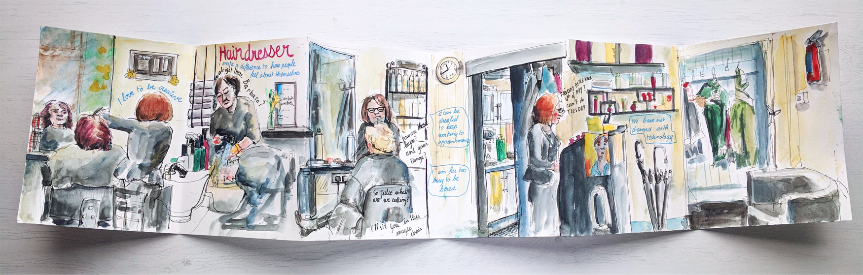Drawing a day in the life of a hairdresser - reportage illustration by Sophie Peanut