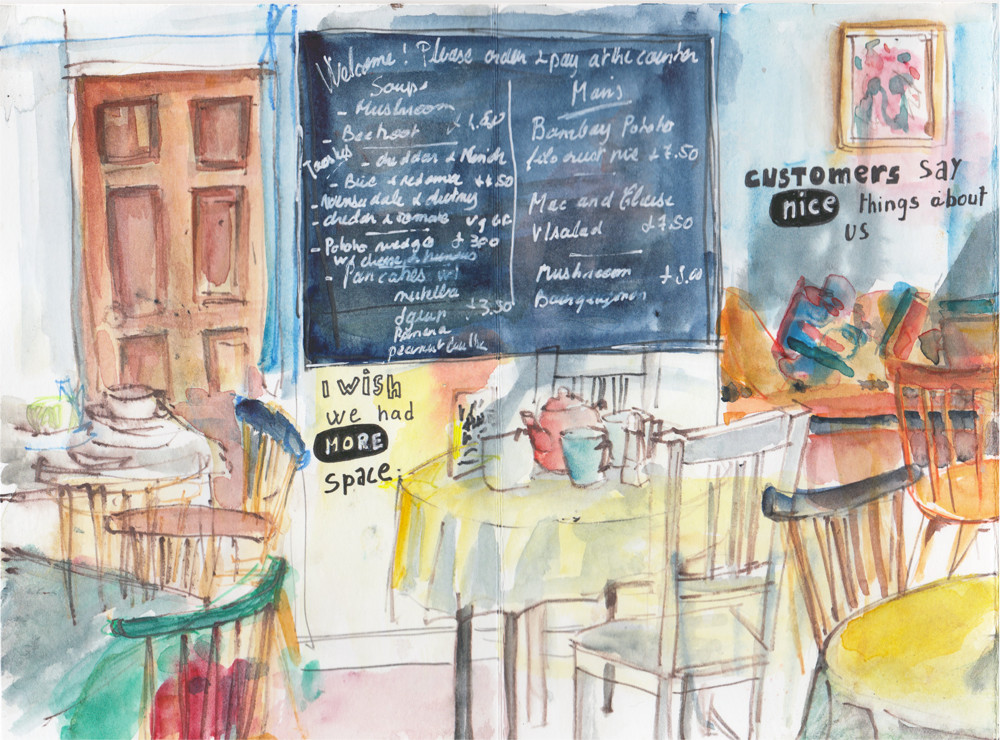 Cafe sketch - trying to convey a sense of atmosphere - What good sketches are make of!