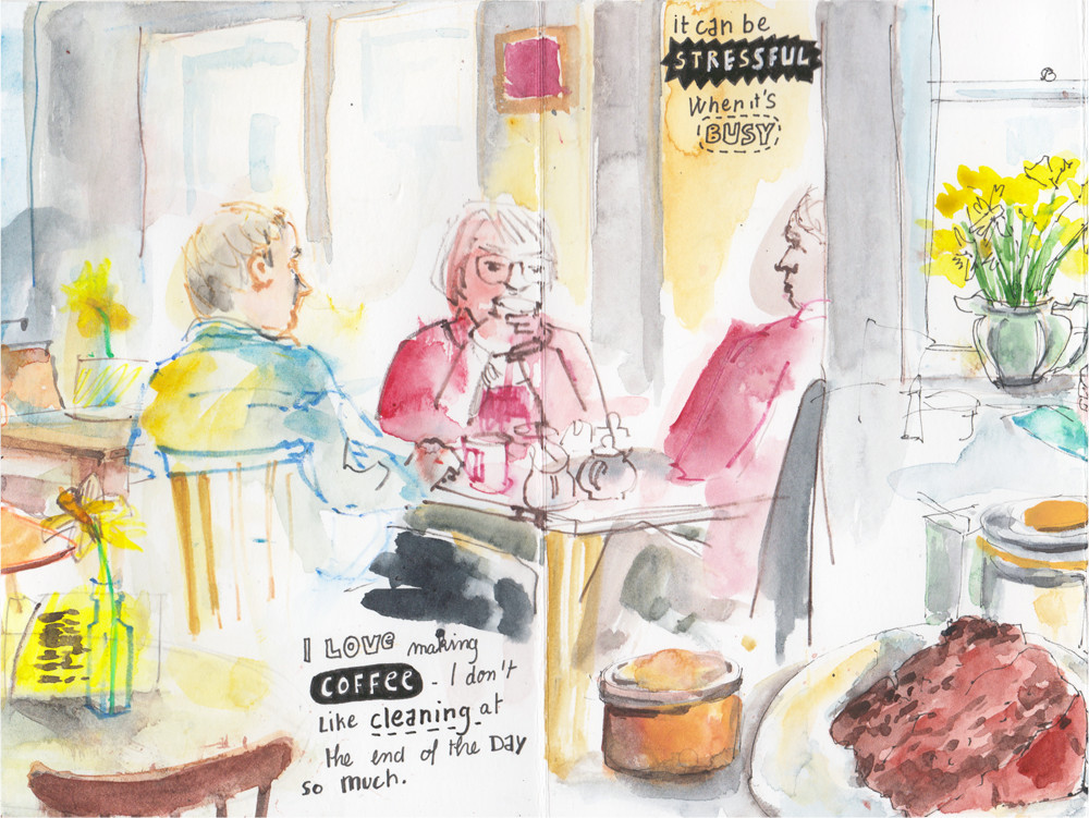 A day at the cafe - Concertina sketchbook by Sophie Peanut