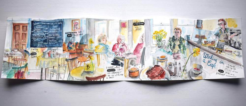 A day at the cafe - Drawing the smell of coffee by Sophie Peanut