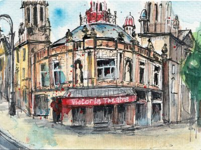 Victoria Theatre Halifax - Pen and watercolour drawing by Sophie Peanut