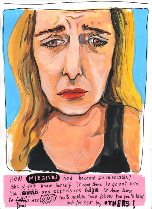 Miranda - Gouache and pencil portrait. From a portrait illustration series by Sophie Peanut.