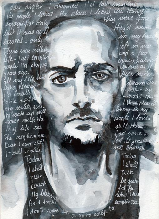 Monochrome watercolour. Portrait illustrations by Sophie Peanut