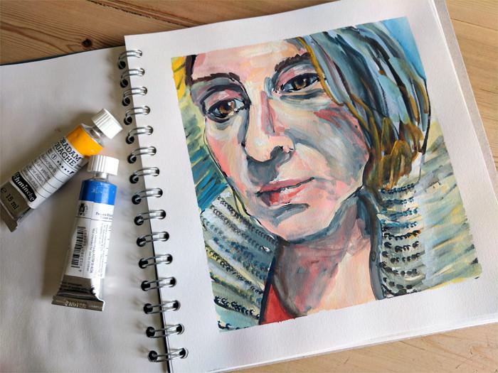 Painting faces - Gouache portrait illustration by Sophie Peanut