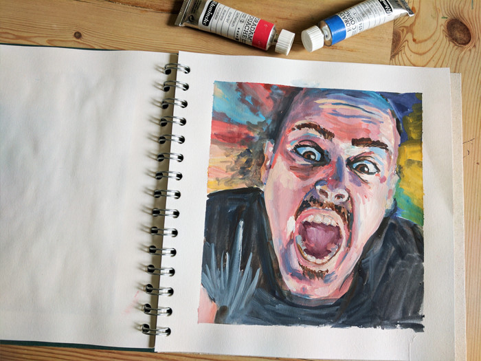 Man screaming - small gouache portrait by Sophie Peanut