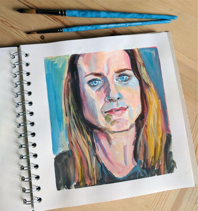 Gouache self portrait in gouache by Sophie Peanut