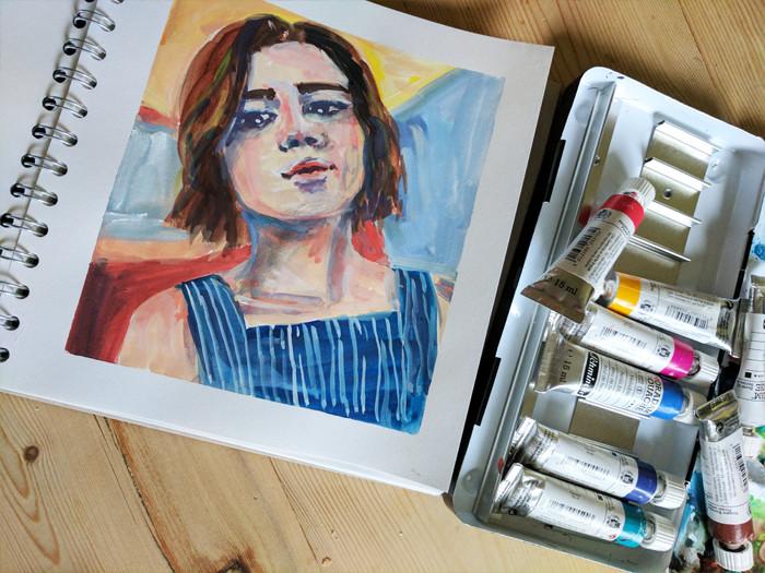 Gouache portrait by Sophie Peanut