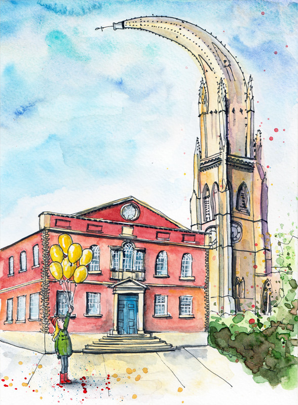 Water colour painting of the Square Chapel by Sophie Peanut - designed for program cover