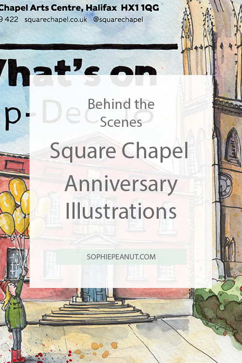Square Chapel Program Cover - Watercolour painting and hand lettering by Sophie Peanut