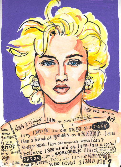 Like a virgin - Portrait of Madonna in Gouache and Posca pen + Hand lettering by Sophie Peanut