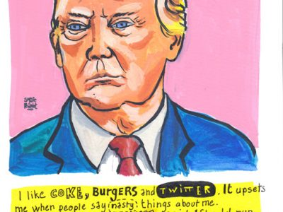 Donald Trump Portrait in gouache + Hand lettering by Sophie Peanut