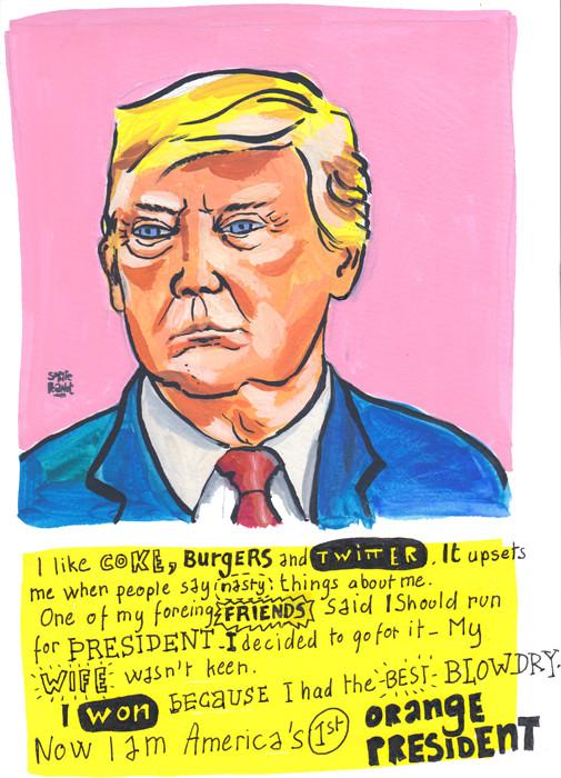 Donald Trump Portrait in gouache + Hand lettering by Sophie Peanut