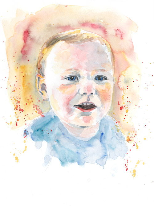 Theo - Watercolour portrait illustration by Sophie Peanut