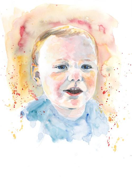 Theo - Watercolour portrait illustration by Sophie Peanut