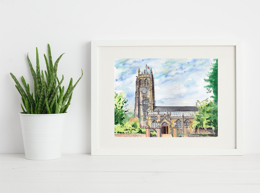 Art print of The Halifax Minster (Paris Church) by Sophie Peanut