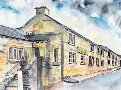 The New Hobbit pub, restaurant and hotel. Norland Halifax. Watercolour painting by Sophie Peanut