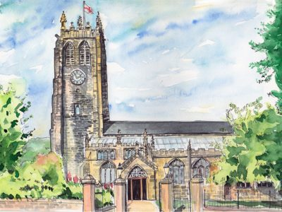 Halifax Minster (Paris Church) pen and watercolour drawing by Sophie Peanut