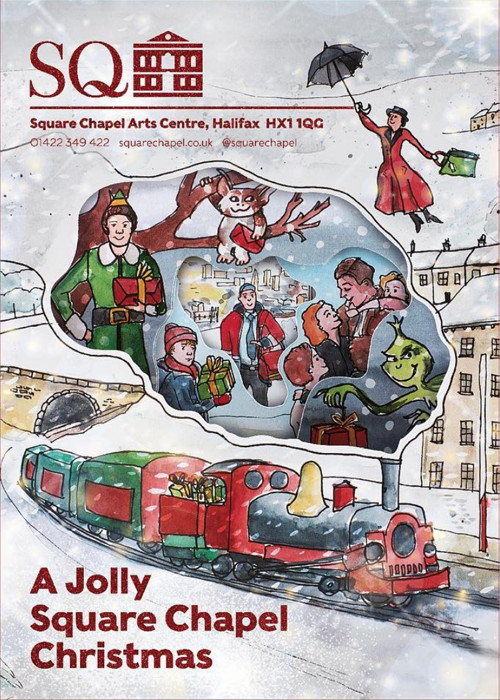 Poster to advertise festive film programme with Christmas Illustrations by Sophie Peanut