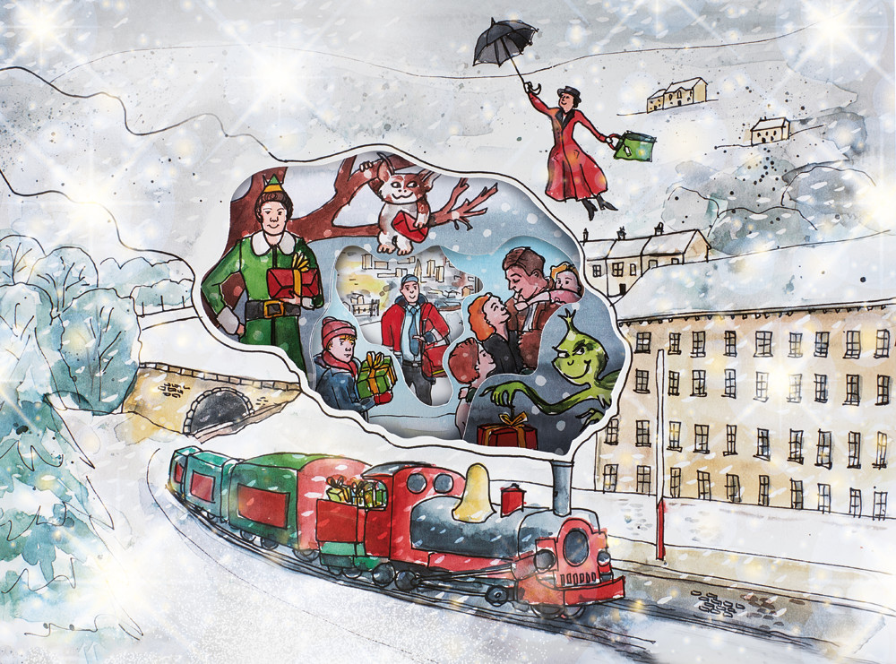 Sophie Peanut's set of illustrations to help promote the Square Chapel Christmas programme