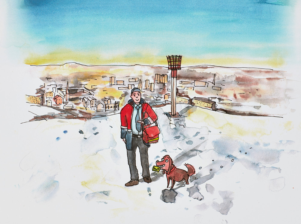 Sophie Peanut Christmas Illustrations. Postman on Beacon Hill (Halifax) with dog