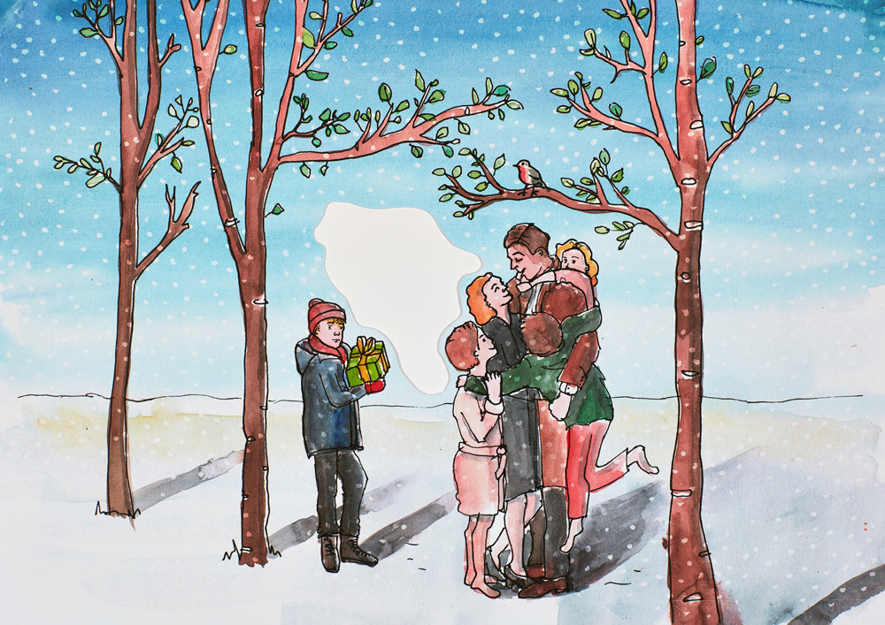 Christmas Illustrations by Sophie Peanut with characters from the home alone and it's a wonderful life films.