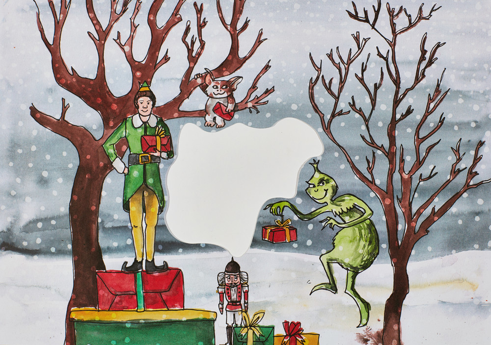 Christmas illustrations by Sophie Peanut with characters of Gremlins, the Grinch and Elf films.