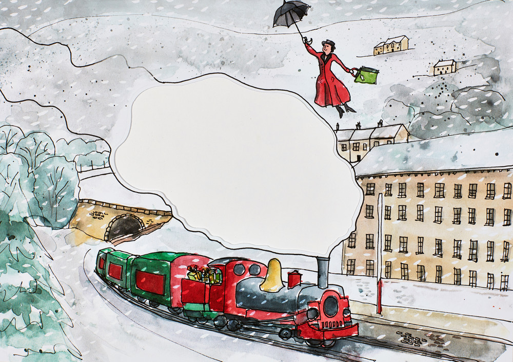Christmas illustrations by Sophie Peanut - Local Halifax scene with steam train and Mary Poppins in stormy snowy weather.