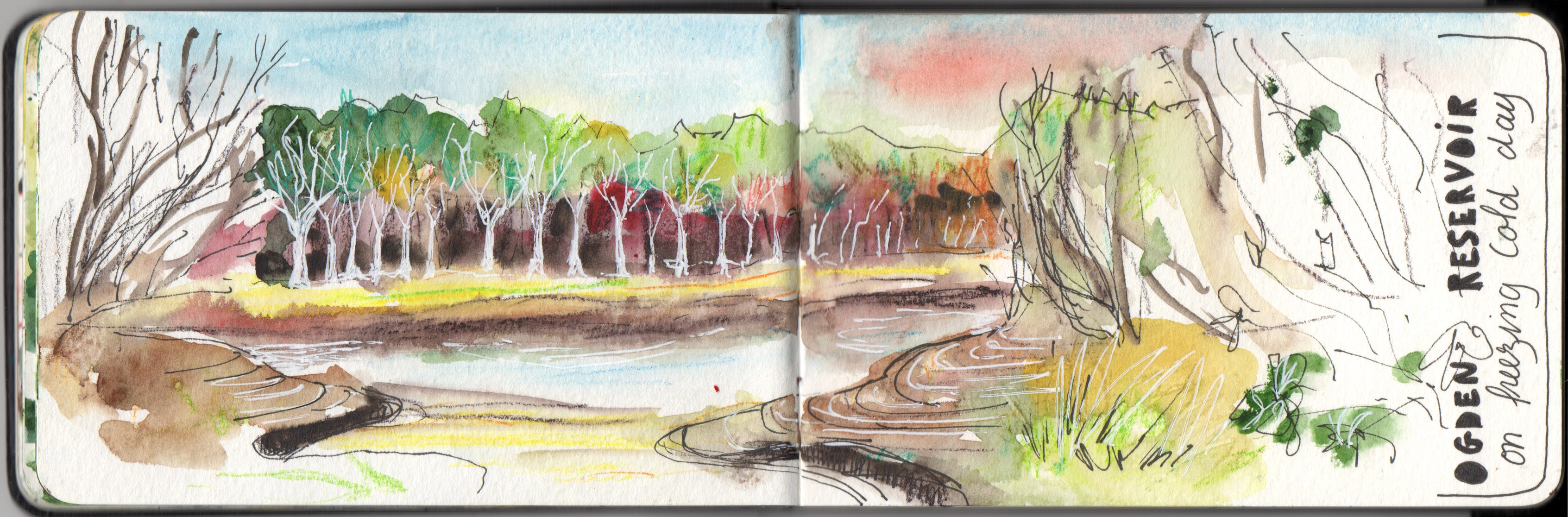 Ogden water in Winter - Watercolour, pen and pencil sketch by Sophie Peanut