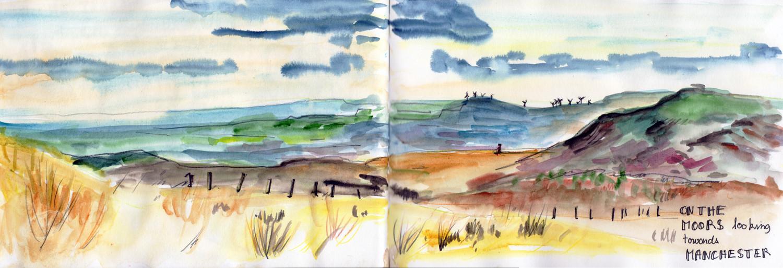 Loose watercolour landscape sketch by Sophie Peanut