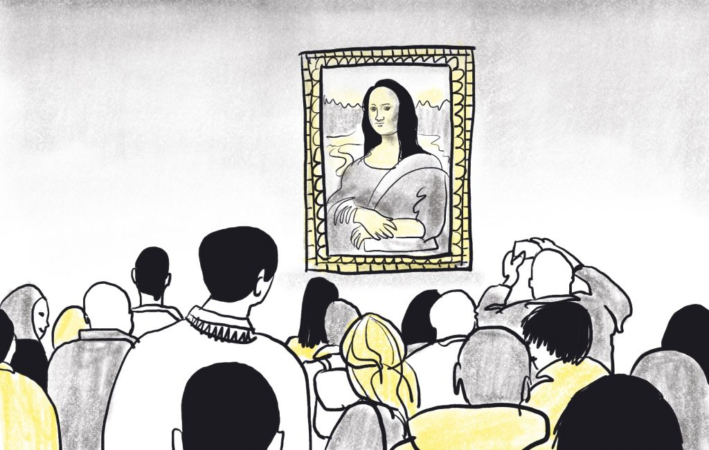 Joconde Stalkers in Museum - illustration by Sophie Peanut