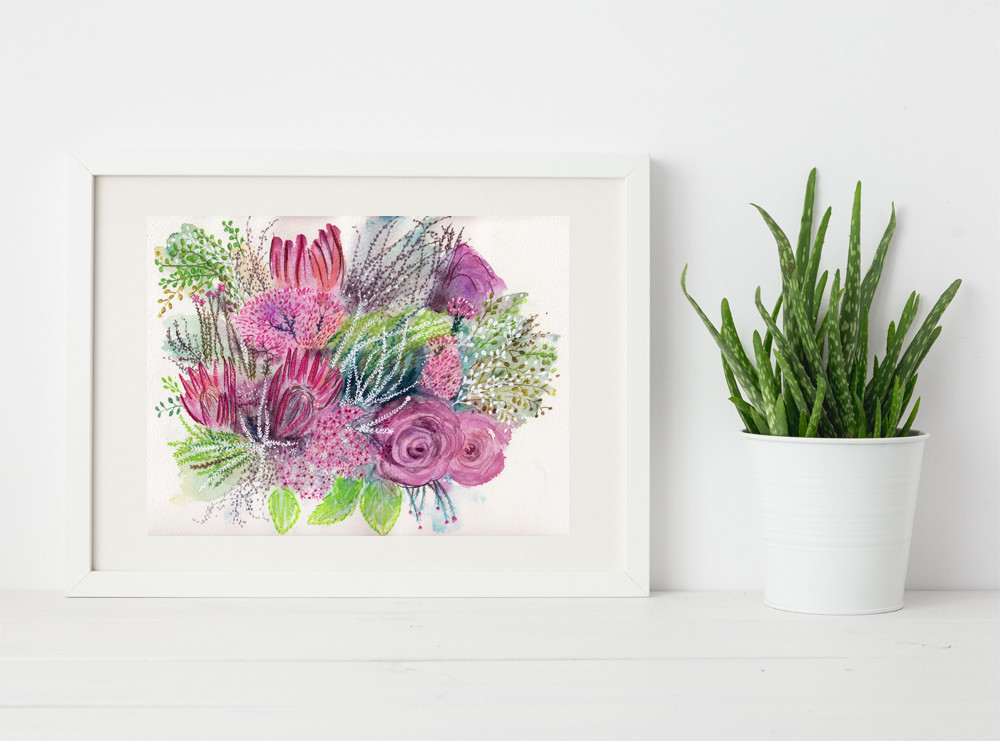 Original Flower Painting for sale by Sophie Peanut