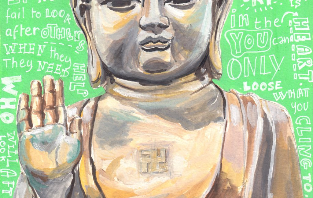 The Buddha Illustration in gouache by Sophie Peanut