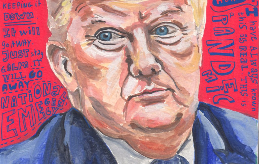Donald Trump Gouache Portrait by Sophie Peanut